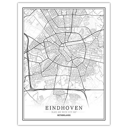 Eindhoven Canvas afdrukken, zwart-wit 60×90cm