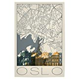 artboxONE Poster 60x40 cm Städte Retro Map of Oslo and