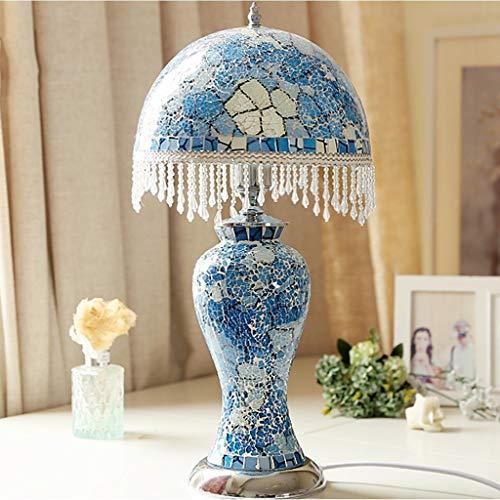 Lfixhssf tafellamp uit mediterrane glas mozaïek kleur camera bedlampje Koreaans warm wit Koreaans sfeerlicht E27 nachtlampje met kristal nappaleder Lfixhssf