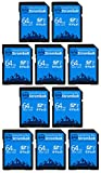 Everything But Stromboli 64GB SD Card (10 Pack) Speed Class 10 UHS-1 64G SDXC Memory Cards for Compatible Camera, Laptop Computer, Video Camcorder