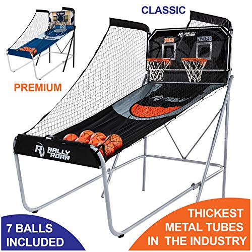 powerful Rally and Roar Premium Home Dual Shot Basketball Arcade Game, Indoor 7 Basketball – Foldable Space Screensaver