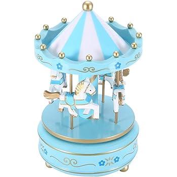 carillon scatola musicale con luce flash merry-go-round resina placcatura Giocattolo di lusso carosello carillon torta decorazione per ragazza giostra in oro Artware//Gift Pink Purple Taglia libera