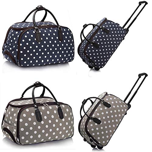 Unisex Holdall Travel Trolley With Wheels Ladies Luggage Bag - Cabin Approved Lightweight Canvas Baggage Suitcase (H 48 cm x W 28 cm x D 27 cm) (Polka Dot - Grey)