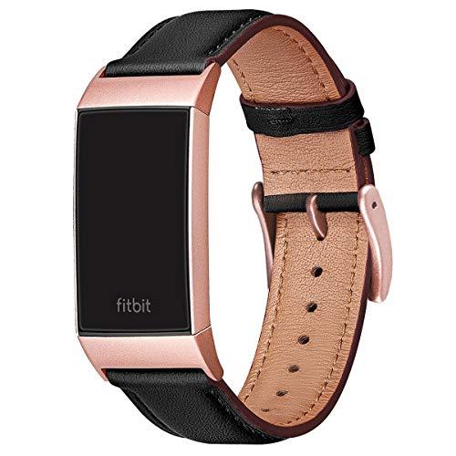 FENGLIN Armband Kompatibel mit Fitbit Charge 3 Armband/Charge 4 Armband Leder, Klassisches Verstellbares Ersatzarmband für Damen, Herren (S,Schwarz/Rosegold)