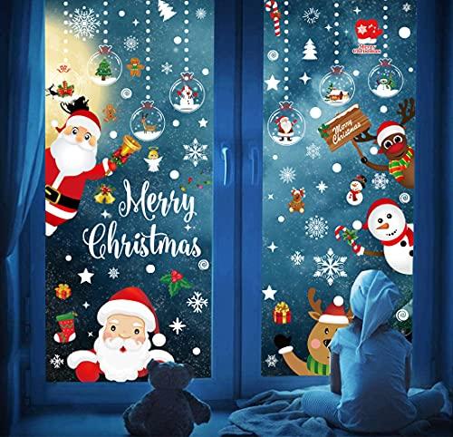 Décoration Noël Sticker Autocollants de Fenêtre Verre Murale Muraux Noël Autocollant Noël Stickers Rennes Sapin Noel Réutilisable Déco Noël Fenetre Noël Décoration