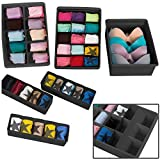 Uncluttered Designs Adjustable Drawer Organizers (6 Set) with Customizable Dividers in Stackable Durable Plastic for Underwear Crafts Baby Clothes Office Bathroom & Under Sink Storage (Black)