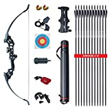 Archery Takedown Recurve Bow and Arrow Set Adult Practice Hunting Long Bow Kit for Outdoor Shooting Training Right Handed Bow (40 LBS)