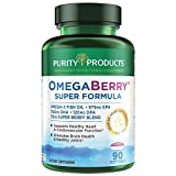 OmegaBerry Fish Oil with Vitamin D3 + Organic Acai Super Formula - 1875 mg of Super Concentrated, Molecularly Distilled, Ultra Pure Omega-3s 975mg EPA + 750mg DHA - 90 Softgels - Purity Products