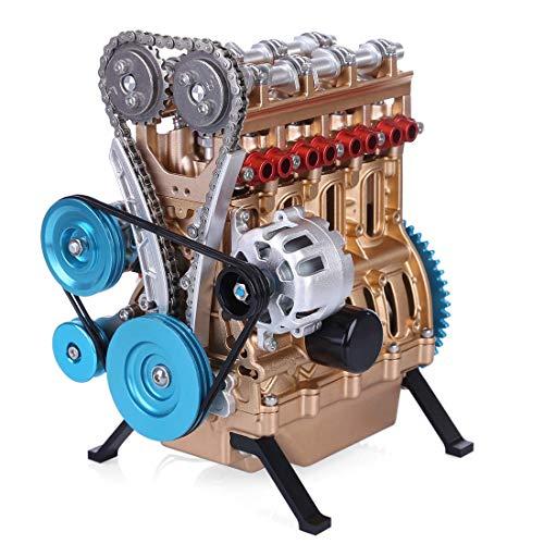 Yamix Full Metal Engine Model Desk Engine, Unassembled 4 Cylinder Inline Car Engine Model Building Kit Mini DIY Engine Model Toy for Adults