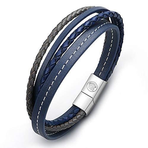 Casisto.J Lederarmband Herren Armband Männer Leder Edelstahl Blaue Schwarze Justierbare 21-22.5 cm (mit Marken-Geschenk-Kasten) (XBTG35)