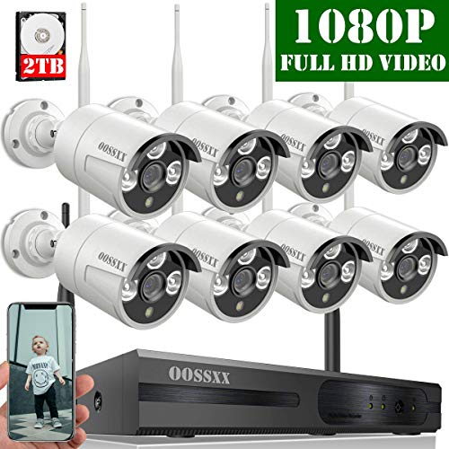 【2020 Update】 OOSSXX 8-Channel HD 1080P Wireless Security Camera System,8Pcs 1080P 2.0 Megapixel...