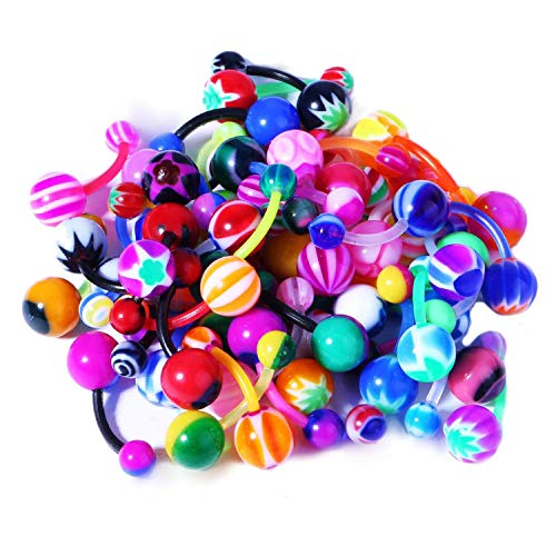 BodyJ4You 100PC Belly Button Rings Banana Barbells 14G Bioflex Plastic Bar Mix Color Body Jewelry