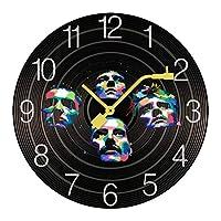 掛け時計 木製 クイーン Queen Band ウォールクロック 壁掛け時計 アナログ おしゃれ 装飾 北欧 連続秒針 静音 壁掛け時計 掛時計 モダン インテリア 大数字 見やすい 電池式 自宅 寝室 部屋飾り 贈り物 直径25/30cm プレゼント レトロなスタイル
