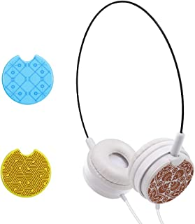 Kid's On Ear Headphones Portable and Ultra Light Wired Headset with Eight Replaceable Plates and Switchable Caps 3.5mm Headset for Phone, Computer, Laptop, MP3/4
