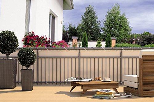 CV Balkon-Sichtschutz Balkon-Verkleidung Balkonumspannung Balkon-Windschutz Creme beige 24 m Kordel Maße: 600 x 90 cm Polyester
