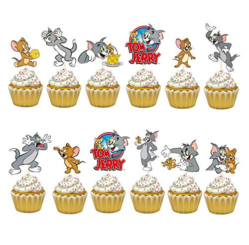 24PC Tom and Jerry Cartoon Party Cupcake Topper Cake Toppers Decoration Theme Birthday A2