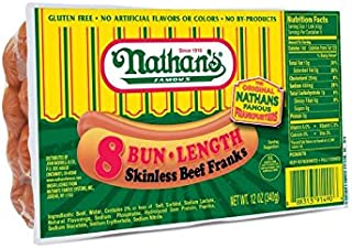 Nathans, 8 Bun Length Skinless Beef Franks, 12 Ounce