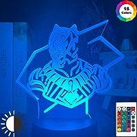 3D光学卓上スタンドマーベルブラックパンサー常夜灯家の装飾用タッチセンサーLEDナイトライトランプイベント賞