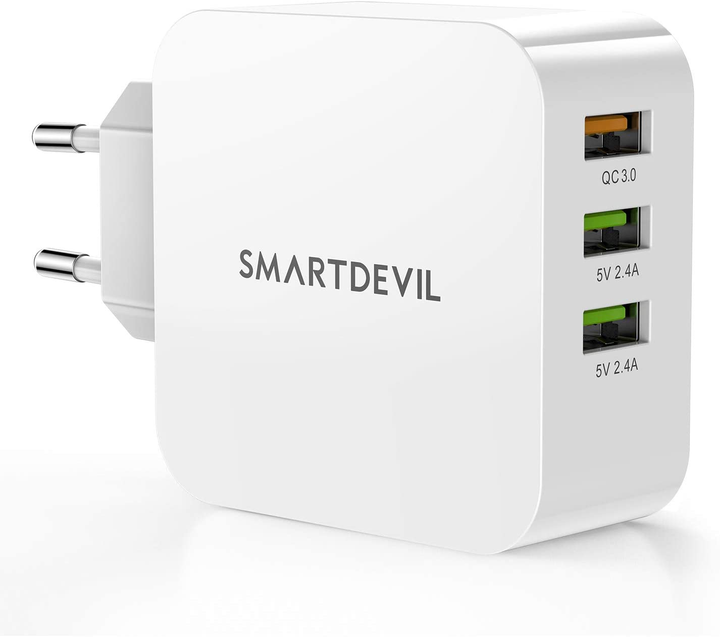SmartDevil Cargador USB Multipuerto Quick Charge 3.0 36W Enchufe USB [Qualcomm Certificado] Cargador Rapido Cargador Movil para Samsung S9/Note 9/S8/iPhone, LG, Nexus, HTC, iPad y Más