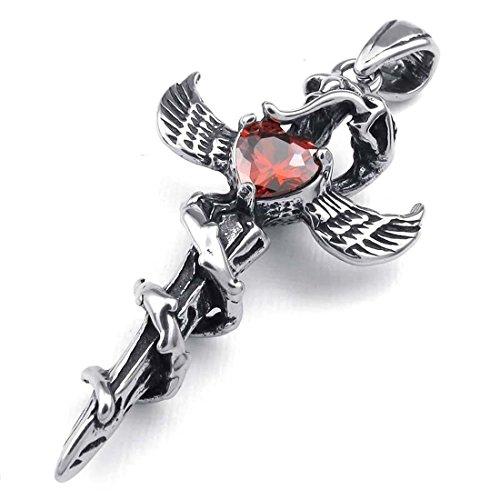 TOOGOO Joyeria de Zirconia Diamante del Acero Inoxidable de Colgante de alas de Serpiente gotico Cruz Espada Daga para Hombre con Collar de 50cm, Rojo Plata