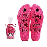 Bring Me Coffee Fuzzy Pink Socks - Novelty Cupcake Packaging for Her - Birthday Gift Idea for Women, Mom, Wife, Sister, Friend or Grandma - 1 Pair Christmas Stocking Stuffers…