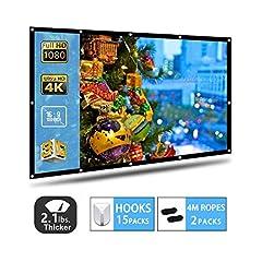 Projector scherm, AYAOQIANG 4K 3D HD 16: 9 100 inch Eenvoudige opvouwbare projectie muur- Knitterfest Ondersteuning Dubbelzijdige projectie voor Home Theater en Outdoor Cinema (100 Inch)*