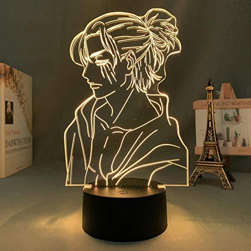 Lámpara de ilusión 3D Anime Attack On Titan 4 Eren Yeager Figura para decoración de dormitorio Niños Cumpleaños Shingeki No Kyojin-16_Color_With_Remote