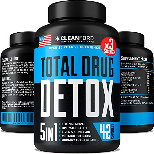 Complete Body Cleanse - Natural, Healthy Cleansing Support for Liver, Urinary Tract, Kidney, Digestive System - 5X Strength, Fast Action Flush, Eases Withdrawal Symptoms - 42 Vegan Capsules