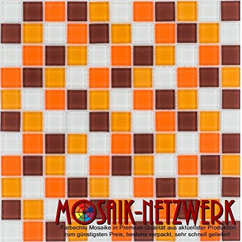 Glasmosaik Fliesen orange braun weiß Wand Boden Dusche WC Küche   10 Matten   Art: es-41077_f