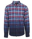Woolrich Men's Trout Run Dip-Dye Flannel Shirt Modern Fit, Estate Blue Plaid, Large