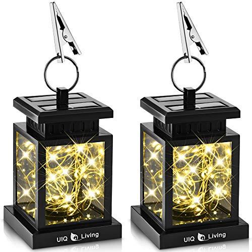 UIQ Living 2 Pack Original Hanging Solar Lights Outdoor Lantern Circular Ring Clamp & Solar Fairy String Lights, Waterproof, 30 Warm White LEDs, Retro, Black, Transform/Interchange DIY