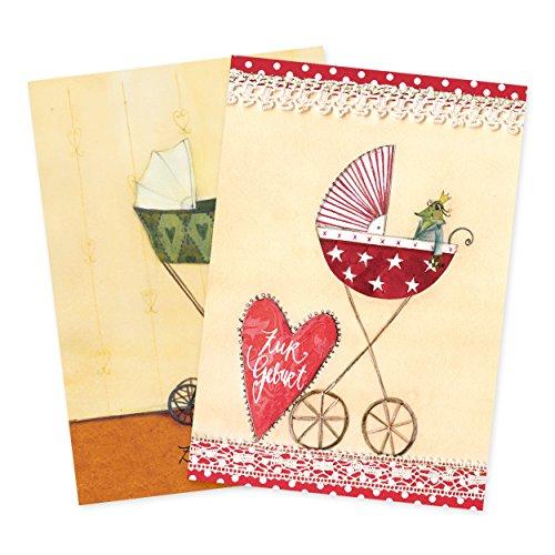 2er Set Glückwunschkarten zur Geburt von Silke Leffler Motiv Kinderwägen