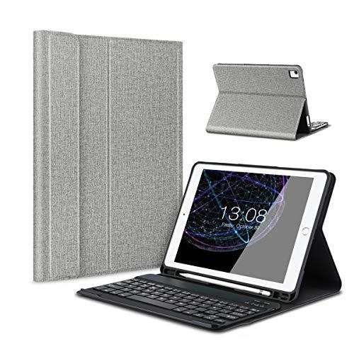 Besmall iPad 9.7 2017/2018 Funda de Teclado con Portalápices, Teclado inalámbrico Bluetooth con Cuero de la PU Cubierta para iPad 9.7 Lanzado en 2017/2018, iPad Air 1/2, iPad Pro 9.7 - Gris