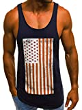 Camiseta sin Mangas para Hombres, impresión sin Mangas de la Camiseta de algodón de los Deportes del músculo de la Camiseta para Correr para Correr Entrenamiento-Azul Tibetano_XXXL