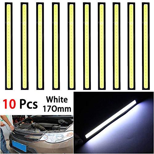 Elliot Jonah 10Pcs 12V Universal Waterproof Car COB LED Light Strips,Slim DRL Fog Light Driving Lamp (White)