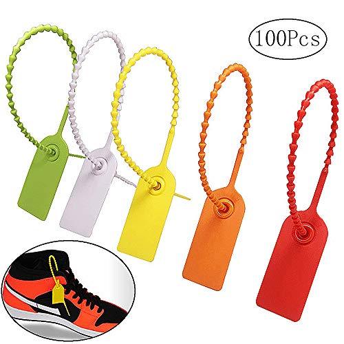 Gurxi Starke Kabelbinder Tags Kabelbinder Mehrfarbig Kunststoff Kabelbinder Etiketten Kunststoff Plomben Zum Kleidung Schuhe Taschen Logistik und Transport 100 Stück (Verschiedene Farben)