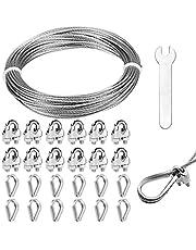 HAKOTOM 26 piezas Juego de abrazaderas de cable de Abrazadera de cable M3 Abrazadera de cable de acero inoxidable con dedales de cable de acero de 1,5 mm y llave para cable de acero