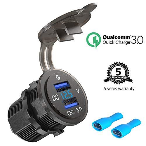 12V/24V USB Buchse Einbau Quick Charge 3.0, Dual QC 3.0 USB Auto Steckdose KFZ Ladegerät wasserdichte 36W Zigarettenanzünder Adapter mit LED Voltmeter Batterie Spannungsanzeige für Boot Motorrad LKW