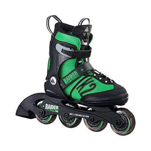 K2 Kinder Inline Skates Raider Pro - Schwarz-Grün - L (35-40 EU; 3-7 UK; 4-8 US) - 30A0218.1.1.L
