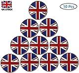 Jeantet Sport Golf Ball Markers UK Flag Assorted Patterns Value 10 Pack, Marker