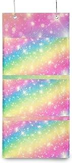 XIXIKO Sac de rangement mural à suspendre avec 3 poches pour porte Motif étoiles et voie laiteuse