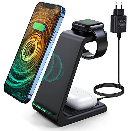 Wireless Charger 3 in 1 Induktive Ladestation Kabelloser Ladegerät mit Adapter, Kompatibel für iPhone 12/11 Pro Max/XS/XR/X/8/8 Plus,iWatch 5/4/3/2/1, AirPods Pro, Samsung S10 S9 S8 Huawei