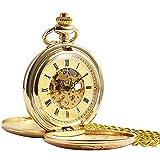 ManChDa® Vintage Champagne Oro Reloj de Bolsillo para los...