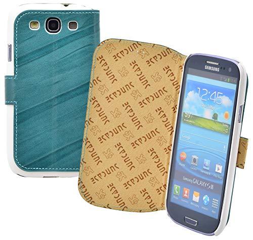 Suncase® Book-Style Ledertasche für / Samsung Galaxy S3 / *ECHT LEDER* Tasche Handytasche Hülle Hülle wash-türkis