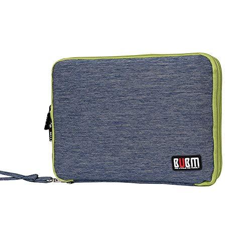 BUBM Universal Reisetasche mit Doppelschichte Organisator Tasche Tragetasche für Elektronisches Zubehör Batterie und Ladegrät (Groß, Blau und Grün)