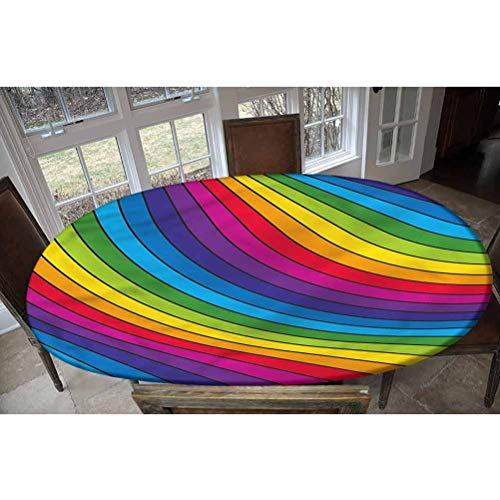LCGGDB Rainbow Elastic Edged Polyester Fitted Tablecolth -Vibrant Visual Fantasy- Oval/Olbong Fitted Table Cover - Fits Oval/Olbong Tables up to 48'x68',The Ultimate Protection for Your Table