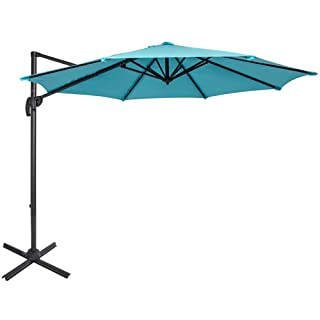 Sundale Outdoor 10ft Offset Hanging Umbrella Market Patio Umbrella Aluminum Cantilever Pole with Crank Lift, Corss Frame, Polyester Canopy, 360°Rotation, for Garden, Deck, Backyard (Light Blue)