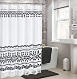 DOSLY IDÉES Tassel Shower Curtain, Black and White,Boho Tribal Cross Striped Bathroom Curtain Set with Hooks,72 x 72 in