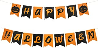 Happy Halloween Rustic Hanging Banner Decoration with Pumpkin Pattern for Halloween Birthday Party Favor