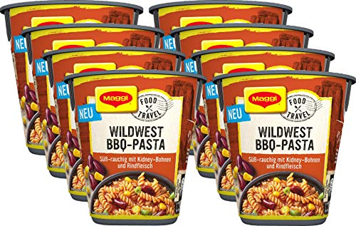 Maggi Food Travel Cup Wildwest BBQ-Pasta, Nudeln mit Rindfleisch & Kidneybohnen in süß-rauchiger Sauce, 8er Pack (8 x 60g)